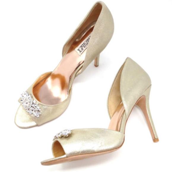 70ebd6b0239 Badgley Mischka Shoes - Badgley Mischka Gold Leather Rhinestone Heels 10.5